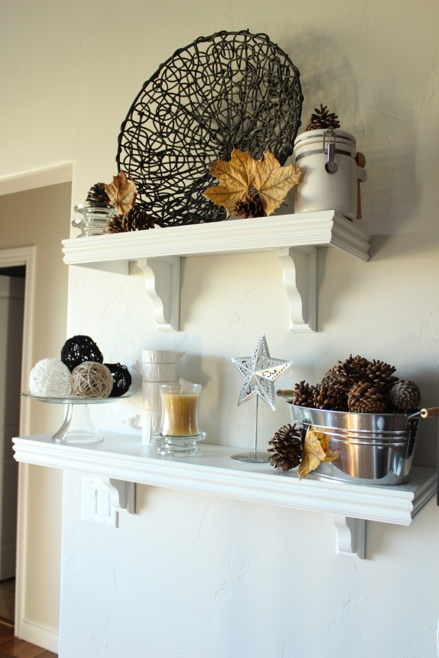 decorate fall kitchen shelves